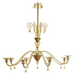Italian Metal and Murano Glass 8-Light Chandelier, MVM Cappellin, circa 1920