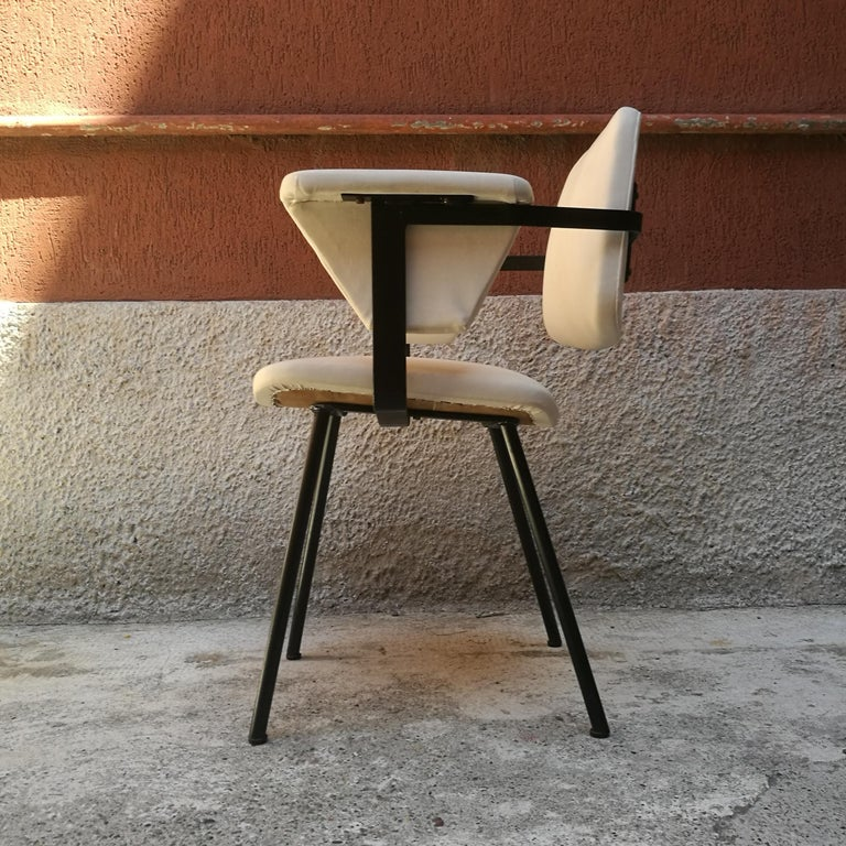 Italian Metal and White Leather Desk Chair with Armrests, 1960s 2