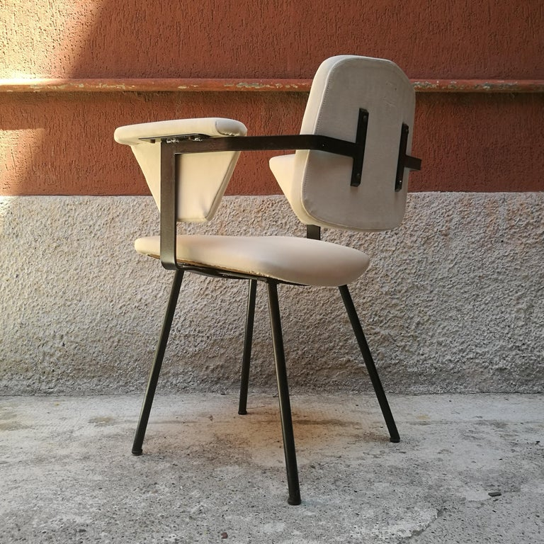 Italian Metal and White Leather Desk Chair with Armrests, 1960s 3
