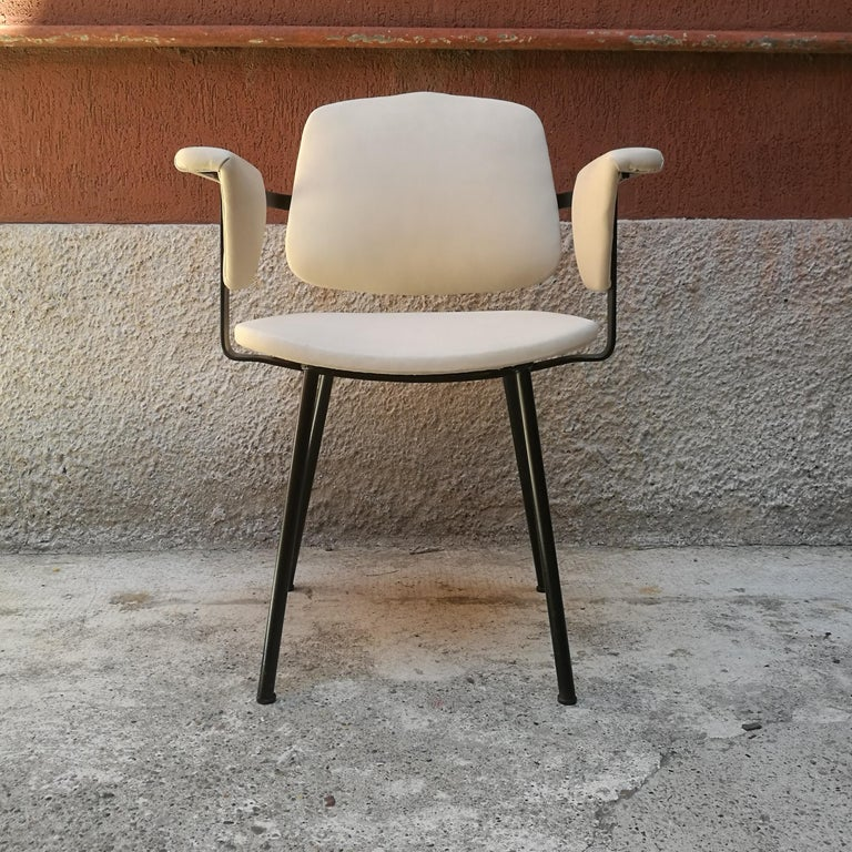 Italian Metal and White Leather Desk Chair with Armrests, 1960s 4