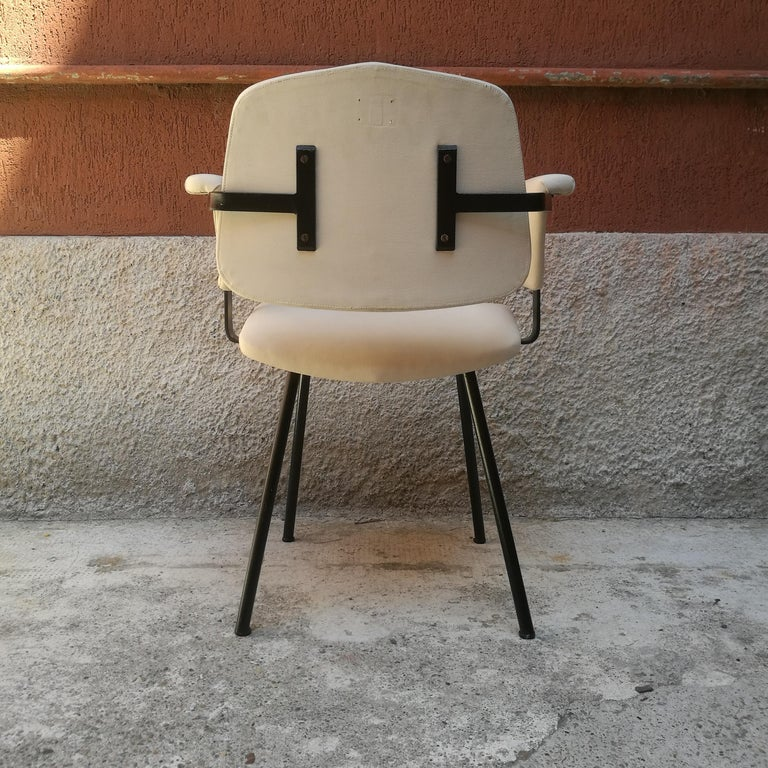 Italian Metal and White Leather Desk Chair with Armrests, 1960s 5