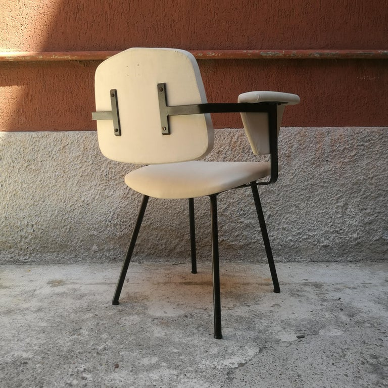 Italian Metal and White Leather Desk Chair with Armrests, 1960s 6
