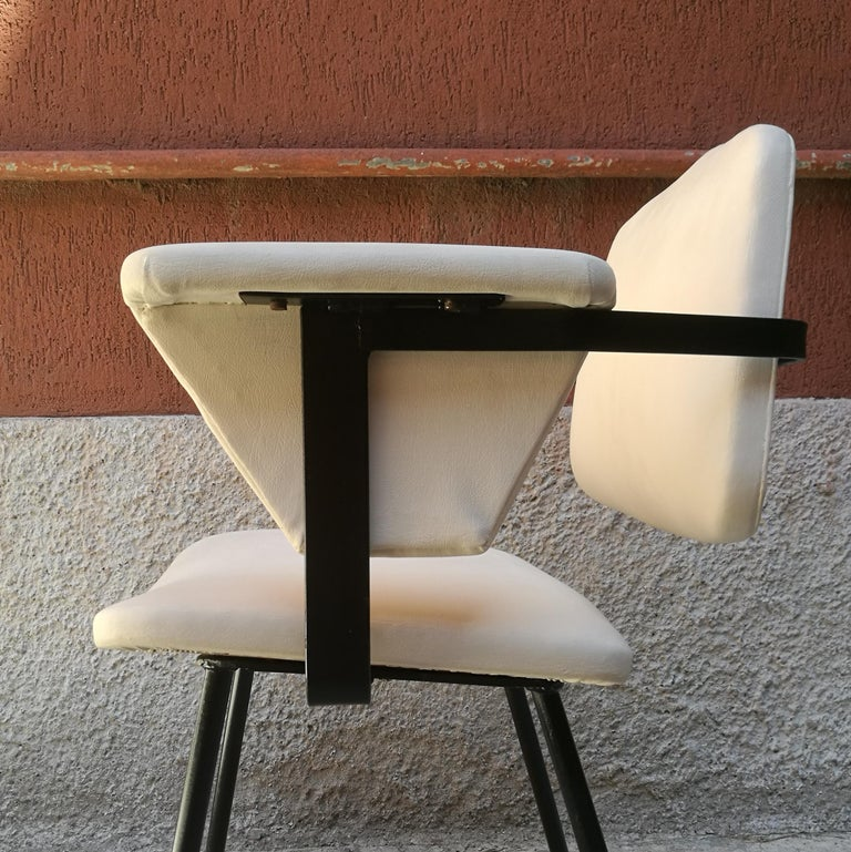 Italian Metal and White Leather Desk Chair with Armrests, 1960s 7