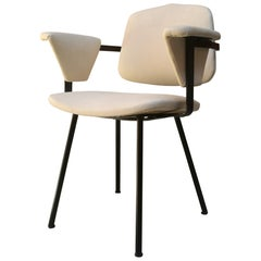 Italian Metal and White Leather Desk Chair with Armrests, 1960s