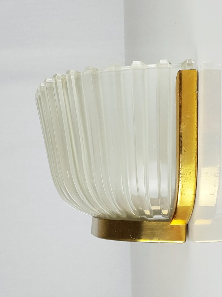 Mid-Century Modern Italian Metal, Brass and Molded Glass 1950s Sconce For Sale