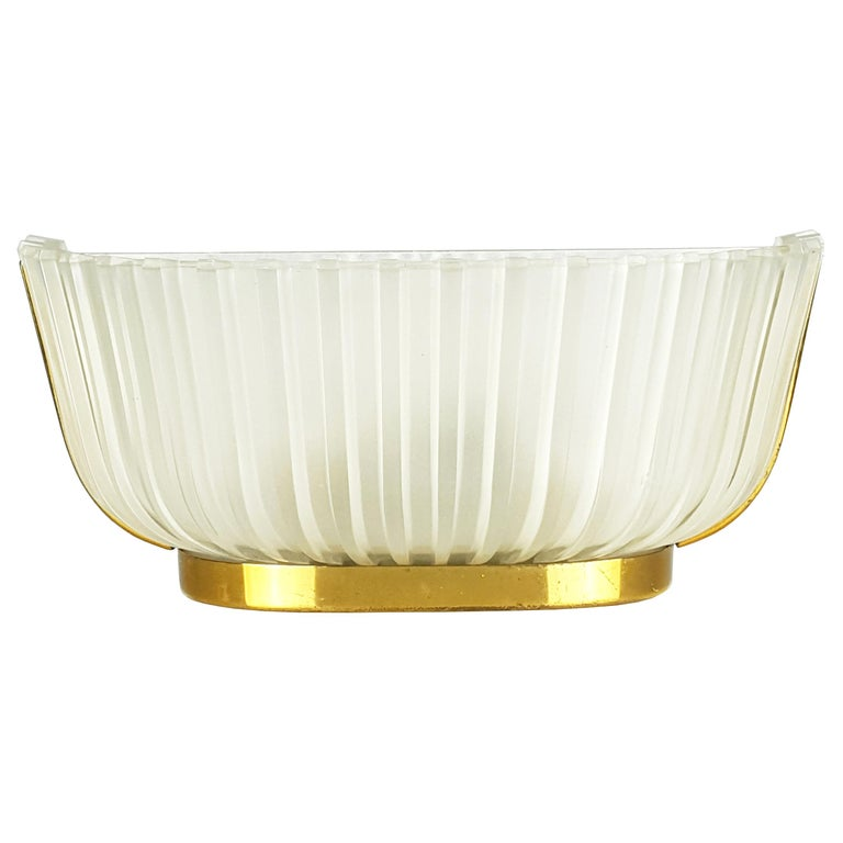 Italian Metal, Brass and Molded Glass 1950s Sconce For Sale