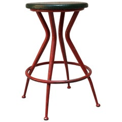 Italian Metal Stool with Original Green Sky and Red Painted Legs, 1950s