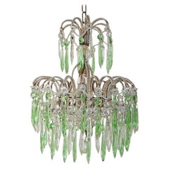 Italian Micro-Beaded Green Crystal Prisms Chandelier