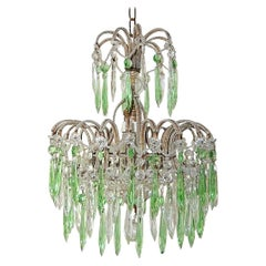 Italian Micro-Beaded Green Crystal Prisms Chandelier