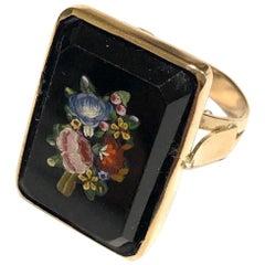 Italian Micromosaic Gold Flowers Ring