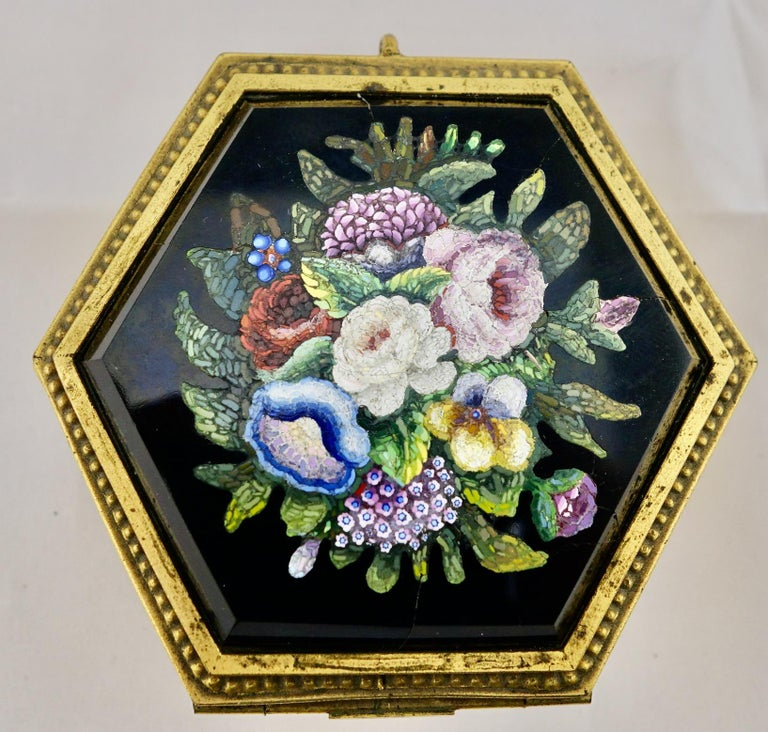 Italian micromosaic hexagonal box by Roccheggiani workship, Rome, Italy, 1880s. Most likely executed after Cesare Roccheggiani left Vatican workshop in 1864, and opened his own afterwards. The box is signed on the interior lining. It is 3 1/2