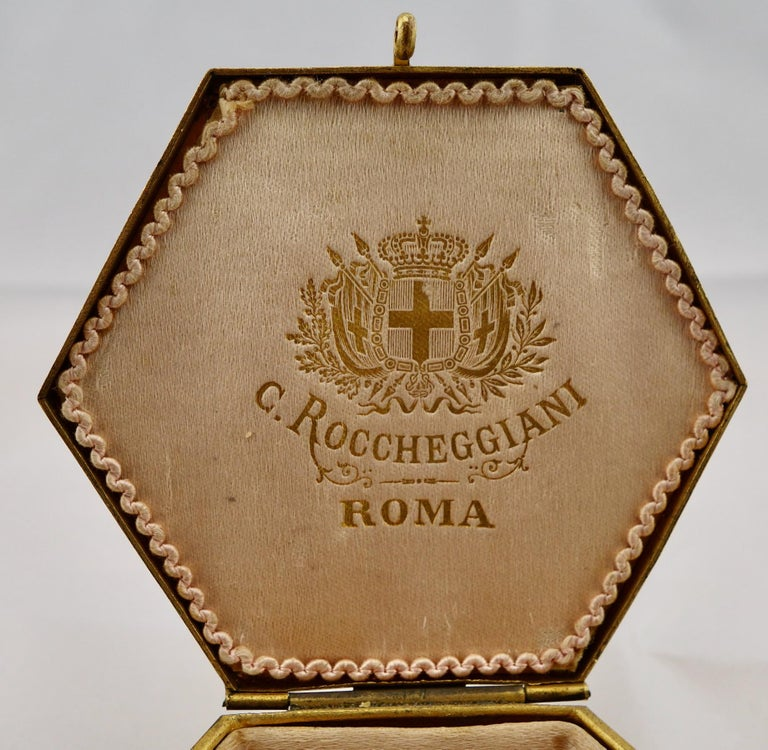 High Victorian Italian Micromosaic Hexagonal Box by Roccheggiani Workshop, Rome, 1880s For Sale