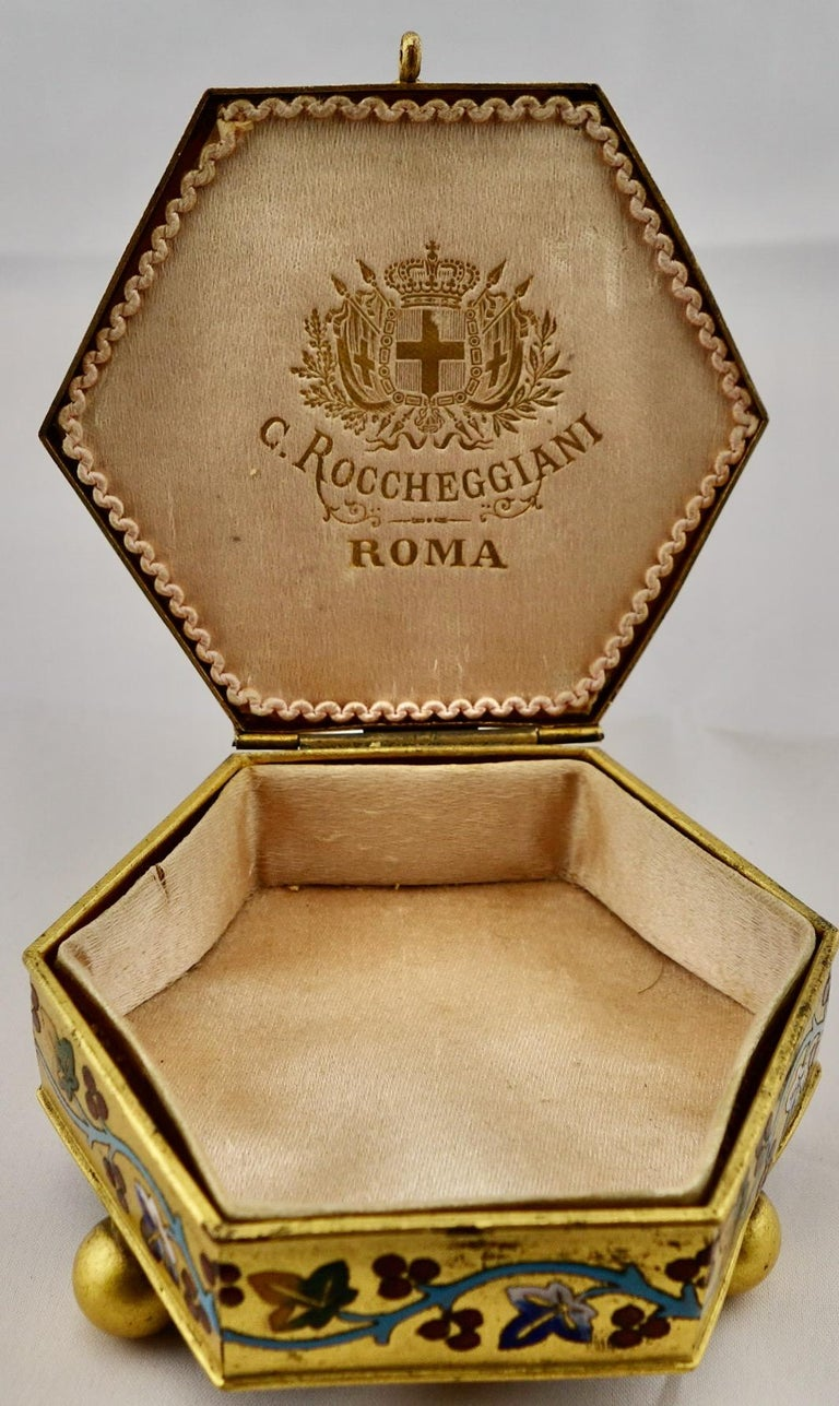 Mosaic Italian Micromosaic Hexagonal Box by Roccheggiani Workshop, Rome, 1880s For Sale