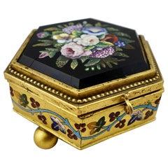 Italian Micromosaic Hexagonal Box by Roccheggiani Workshop, Rome, 1880s