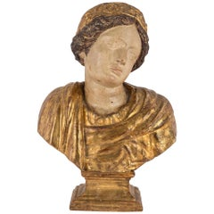 Italian Mid-17th Century Baroque Period Giltwood and Polychrome Bust