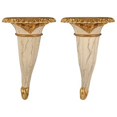 Italian Mid-18th Century Venetian Faux Marble and Giltwood Wall Brackets