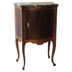 Italian Mid-18th Century Walnut Bedside Table with One Door and a Marble-Top