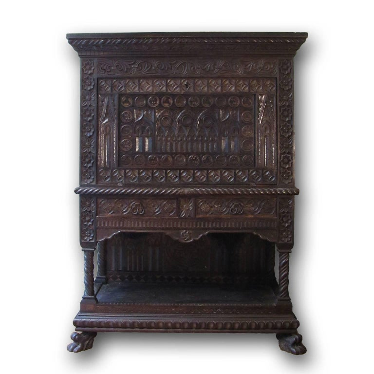 Gothic Revival Italian Mid-19th Century Carved Solid Walnut Wood Stipo, Writing Cabinet For Sale