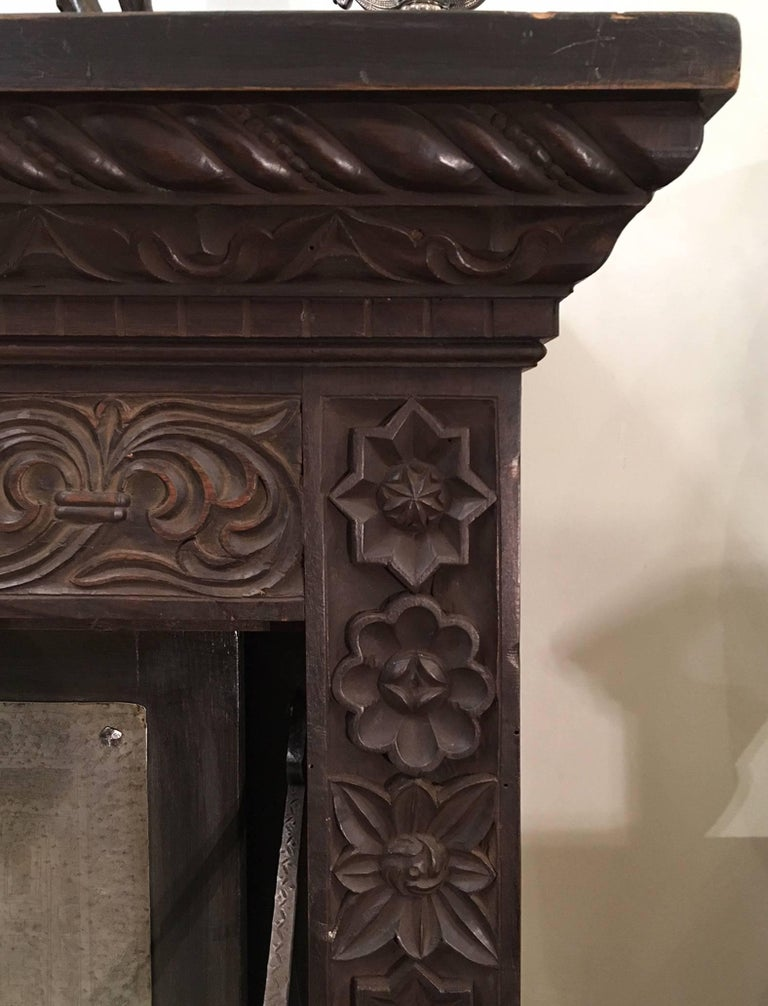 Metal Italian Mid-19th Century Carved Solid Walnut Wood Stipo, Writing Cabinet For Sale