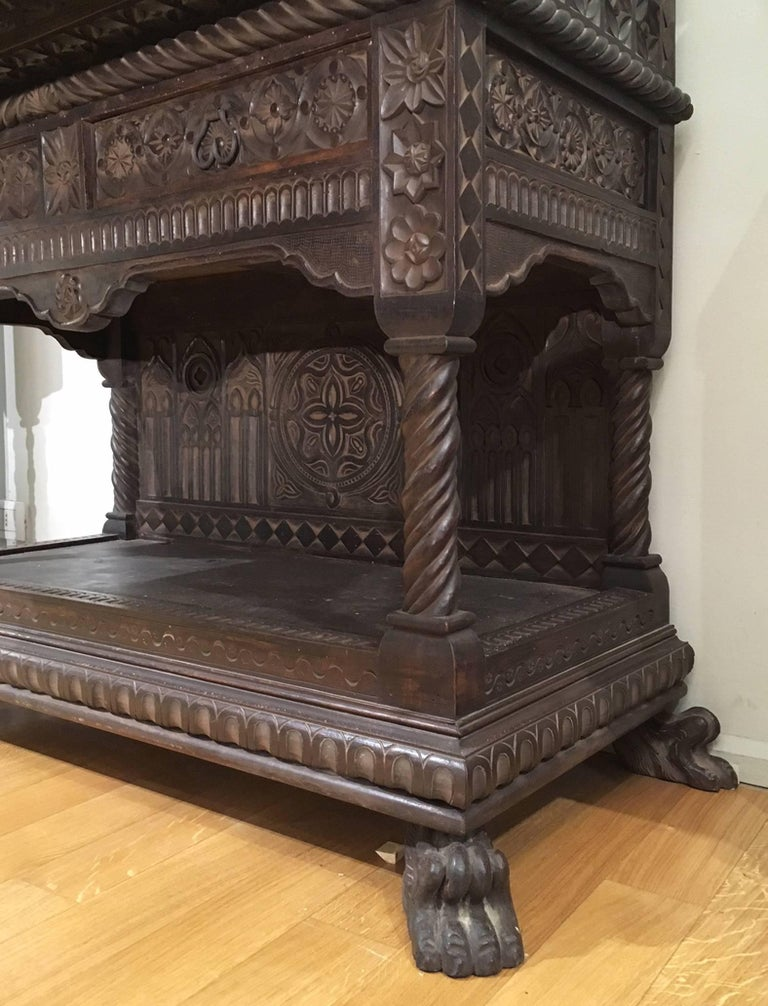 Italian Mid-19th Century Carved Solid Walnut Wood Stipo, Writing Cabinet For Sale 1