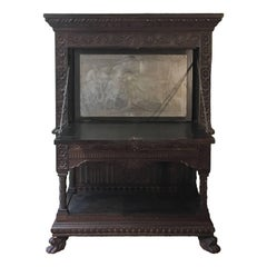 Italian Mid-19th Century Carved Solid Walnut Wood Stipo, Writing Cabinet