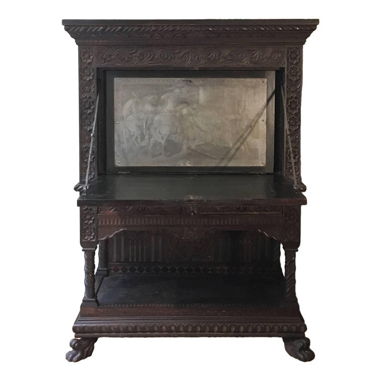 Italian Mid-19th Century Carved Solid Walnut Wood Stipo, Writing Cabinet For Sale