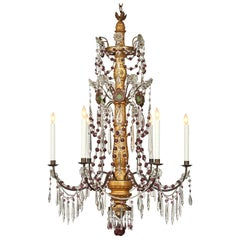 Italian Mid-19th Century Crystal and Giltwood Eight Light Chandelier