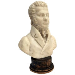 Italian Mid-19th Century Gentleman Bust Signed Tabacchi Warm White Alabaster