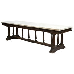 Italian Mid-19th Century Long Dinning Table with White Marble Top