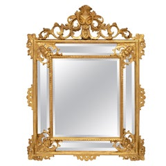 Italian Mid-19th Century Louis XV Style Double Framed Giltwood Mirror