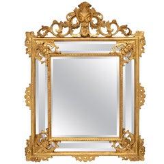 Italian Mid-19th Century Louis XV Style Double Framed Giltwood Mirror
