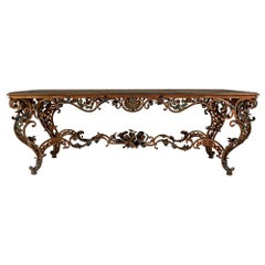Italian Mid-19th Century Louis XV Style Wrought Iron and Marble Center Table