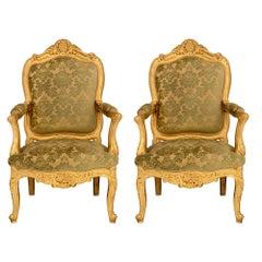 Italian Mid-19th Century Louis XVI Style Giltwood Armchairs
