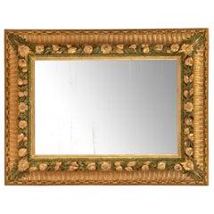 Italian Mid-19th Century Rectangular Giltwood and Green Polychrome Mirror