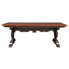 Italian Mid-19th Century Solid Walnut Trestle Table