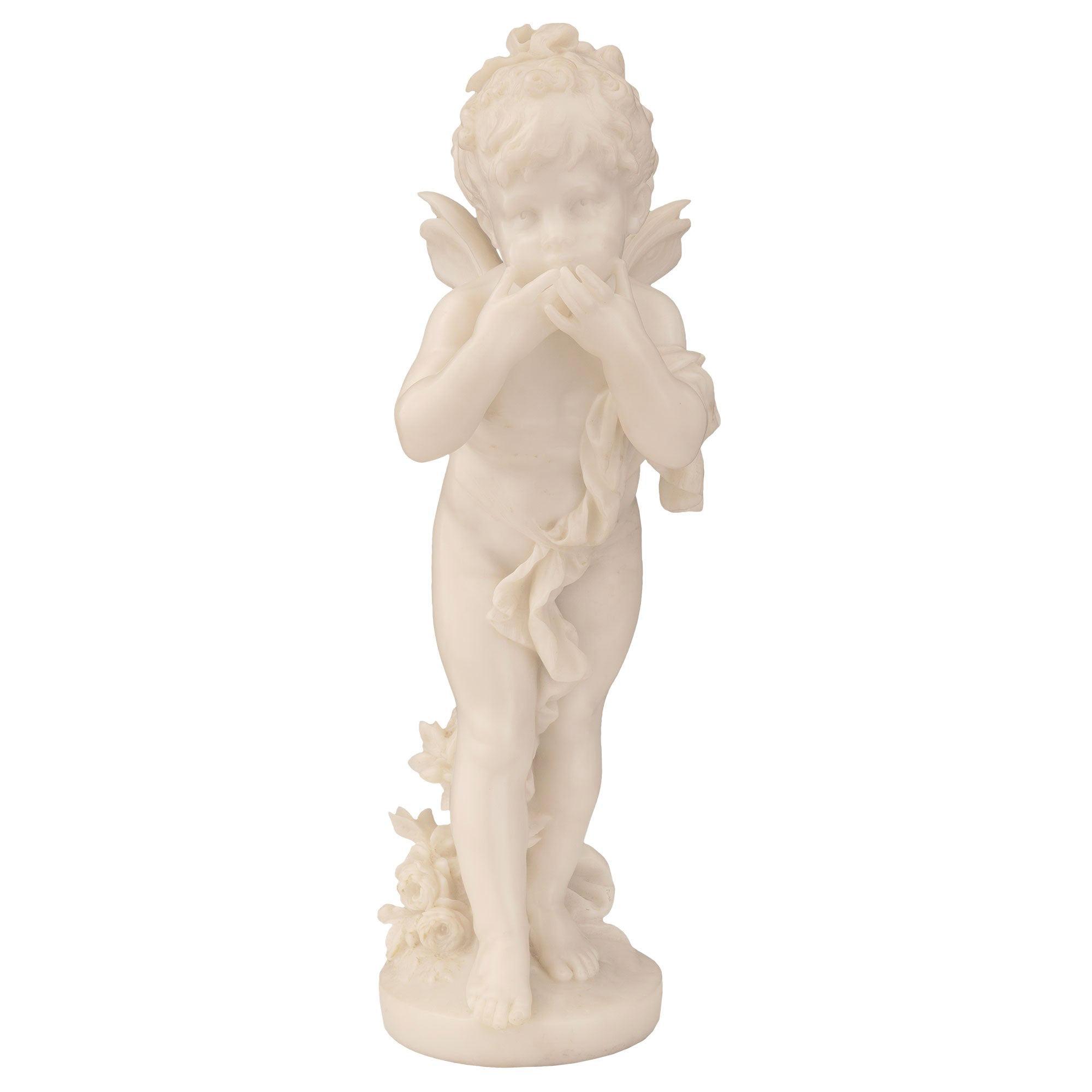Italian Mid-19th Century White Carrara Marble Statue of Winged Girl
