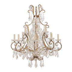 Italian Mid-20th Century 12-Light Crystal Chandelier with C-Scrolled Arms