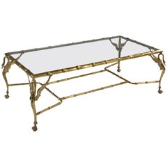 Italian Mid-20th Century Brass Faux Bamboo Swan Coffee Table