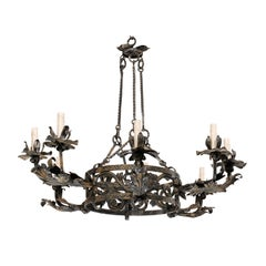 Italian Mid-20th Century Nine-Light Forged Iron Chandelier