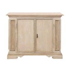 Italian Mid-20th Century Painted Wood Two-Door Cabinet in Neutral Light Beige