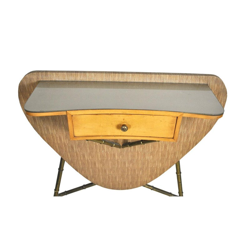 Italian Midcentury 1960s Consolle in Brass and Wood For Sale 6
