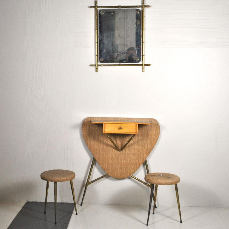 Mid-Century Modern Italian Midcentury 1960s Consolle in Brass and Wood For Sale