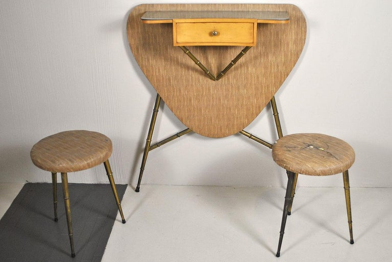 Italian Midcentury 1960s Consolle in Brass and Wood In Fair Condition For Sale In bari, IT