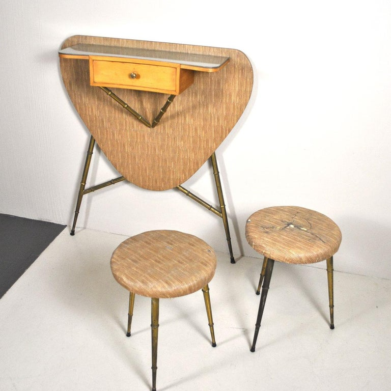 Mid-20th Century Italian Midcentury 1960s Consolle in Brass and Wood For Sale