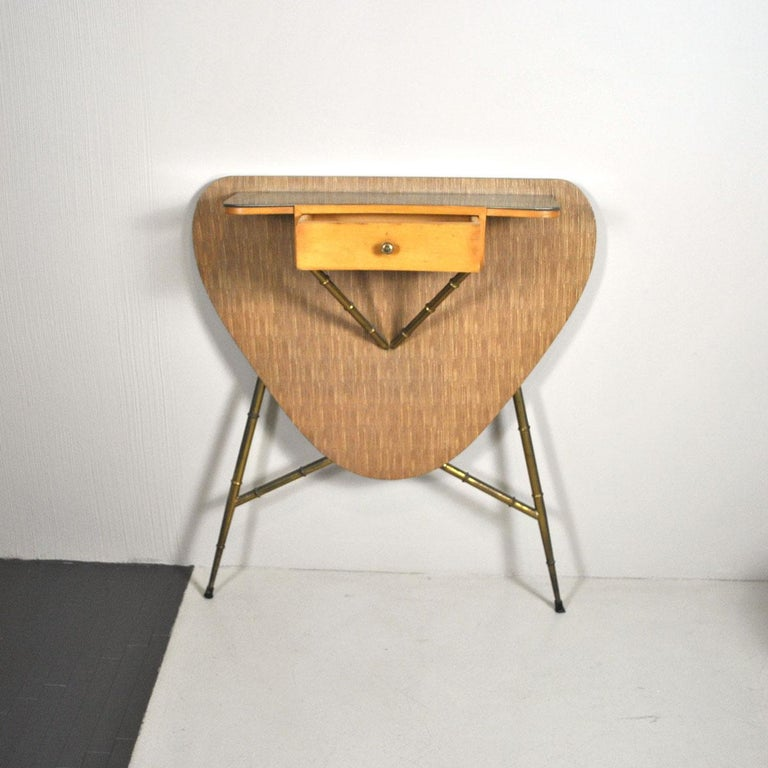 Italian Midcentury 1960s Consolle in Brass and Wood For Sale 1