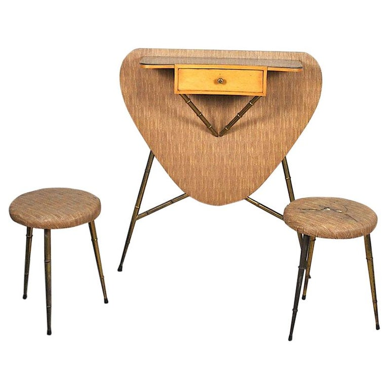Italian Midcentury 1960s Consolle in Brass and Wood For Sale