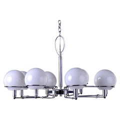 Italian Mid Century 8 Light Fixture with White Globes and Chrome Base