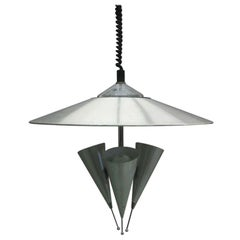 Midcentury Adjustable Aluminum Triple Reflector Pendant Attributed to Stilnovo