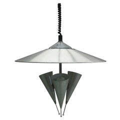 Italian Midcentury Adjustable Triple Reflector Pendant Attributed to Stilnovo