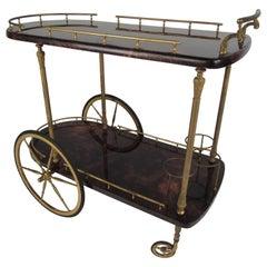 Italian Midcentury Aldo Tura Lacquered Goatskin Bar Cart